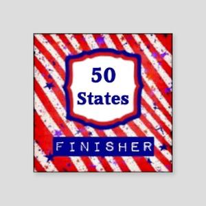 "50 States Finisher Square Sticker 3"" x 3"""