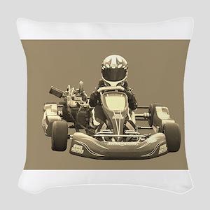 Kart Racer in Sepia Woven Throw Pillow