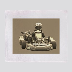 Kart Racer in Sepia Throw Blanket