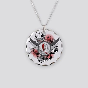 Aplastic Anemia Grunge Ribbo Necklace Circle Charm