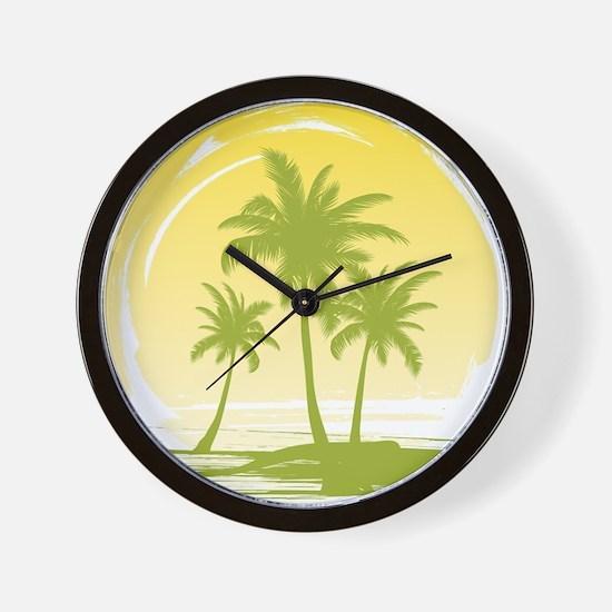 Green Palm Tree Wall Clock