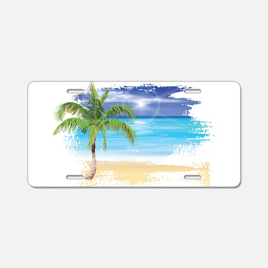 Beach Scene Aluminum License Plate