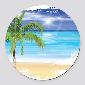 Beach Scene Round Car Magnet