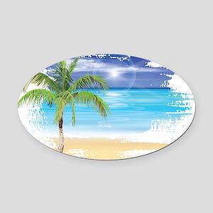 Beach Scene Oval Car Magnet