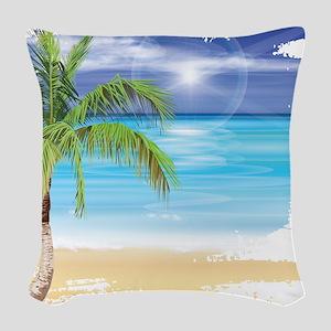 Beach Scene Woven Throw Pillow