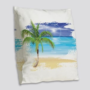 Beach Scene Burlap Throw Pillow