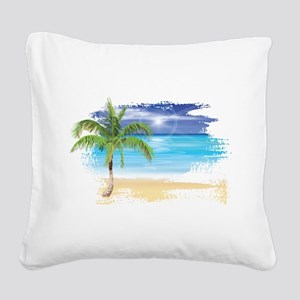 Beach Scene Square Canvas Pillow