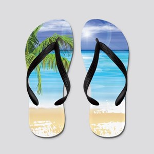 Beach Scene Flip Flops