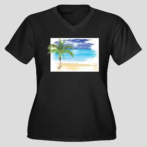 Beach Scene Plus Size T-Shirt
