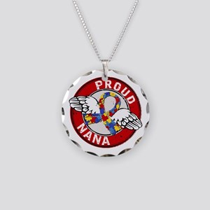 Autism Proud Nana 3 Red Necklace Circle Charm