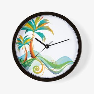 Rainbow Palm Tree Wall Clock