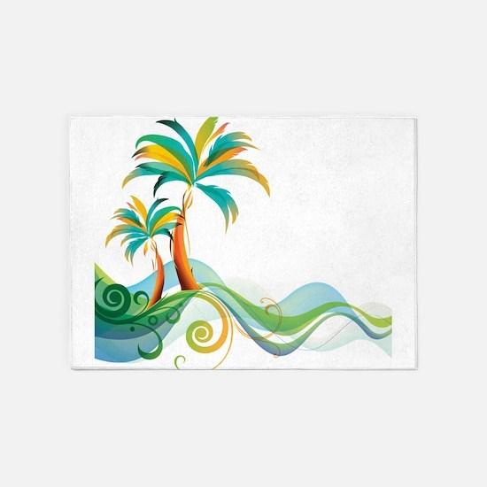 Rainbow Palm Tree 5'x7'Area Rug