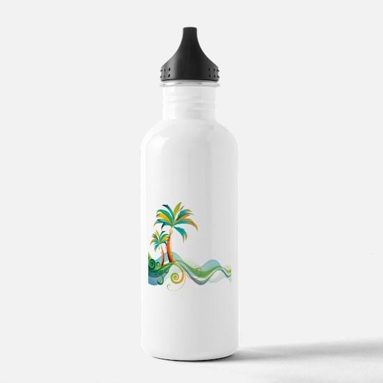 Rainbow Palm Tree Water Bottle