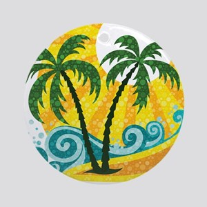 Sunny Palm Tree Ornament (Round)