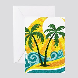 Sunny Palm Tree Greeting Cards