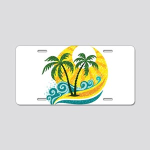 Sunny Palm Tree Aluminum License Plate