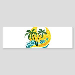 Sunny Palm Tree Bumper Sticker