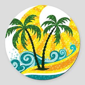 Sunny Palm Tree Round Car Magnet