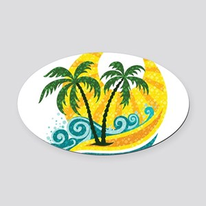 Sunny Palm Tree Oval Car Magnet