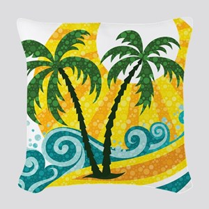 Sunny Palm Tree Woven Throw Pillow