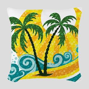 Sunny Palm Tree Woven Throw Pillow