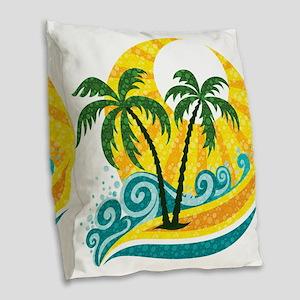 Sunny Palm Tree Burlap Throw Pillow