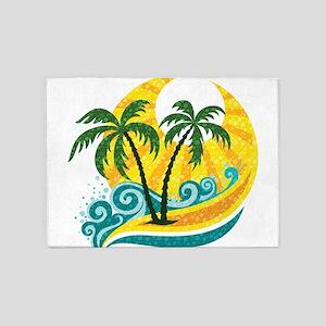 Sunny Palm Tree 5'x7'Area Rug