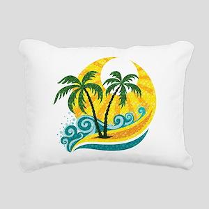 Sunny Palm Tree Rectangular Canvas Pillow