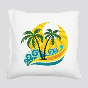 Sunny Palm Tree Square Canvas Pillow