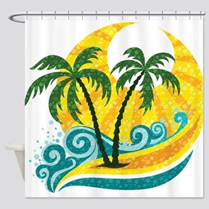 Sunny Palm Tree Shower Curtain