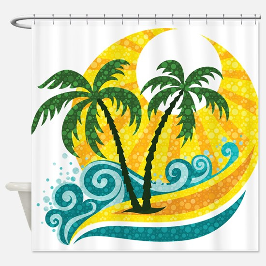 Sunny Palm Tree Shower Curtain