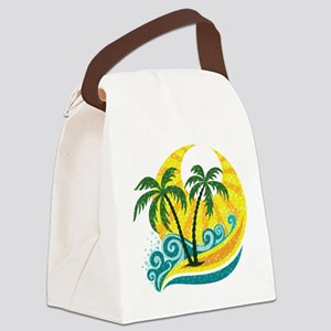 Sunny Palm Tree Canvas Lunch Bag