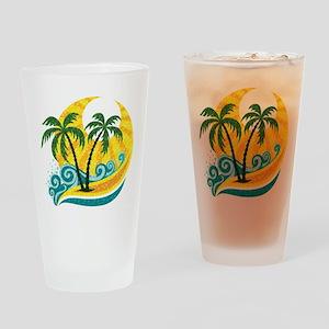 Sunny Palm Tree Drinking Glass