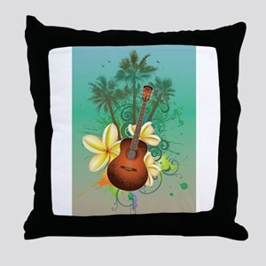 Tropical Guitar Throw Pillow
