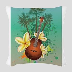 Tropical Guitar Woven Throw Pillow