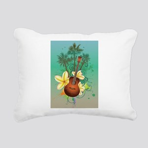 Tropical Guitar Rectangular Canvas Pillow