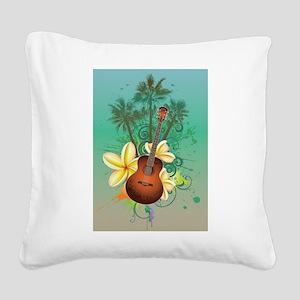 Tropical Guitar Square Canvas Pillow