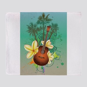 Tropical Guitar Throw Blanket