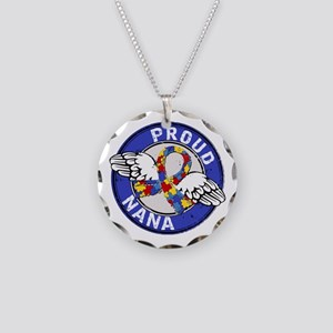Autism Proud Nana 3 Blue Necklace Circle Charm