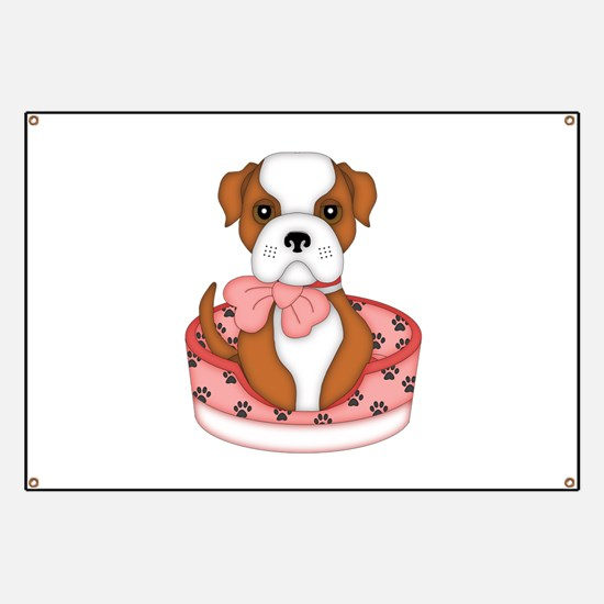 Bulldog in pink bed Banner