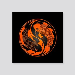 Orange and Black Yin Yang Koi Fish Sticker