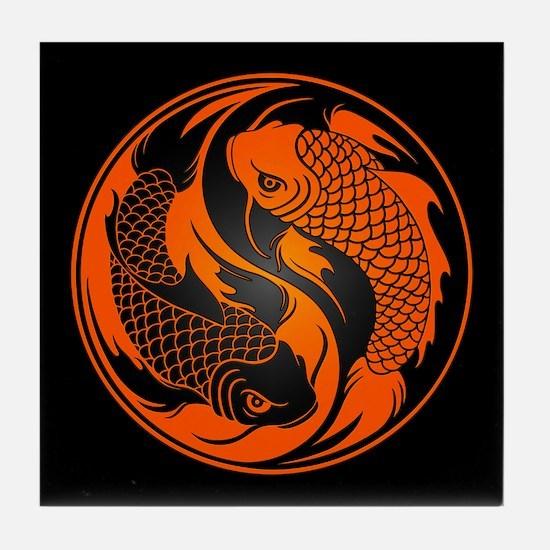 Orange and Black Yin Yang Koi Fish Tile Coaster