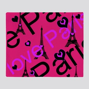 Hot Pink & Black I LOVE PARIS Throw Blanket
