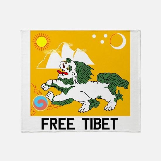 Free Tibet - Old Flag Throw Blanket