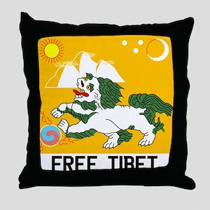 Free Tibet - Old Flag Throw Pillow