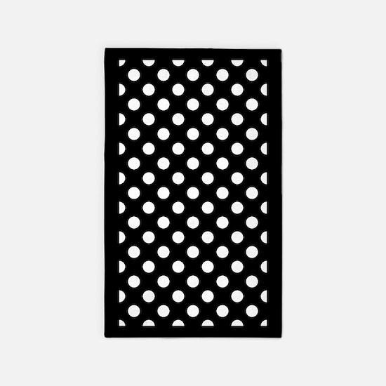 Black and White Polka Dots 3'x5' Area Rug