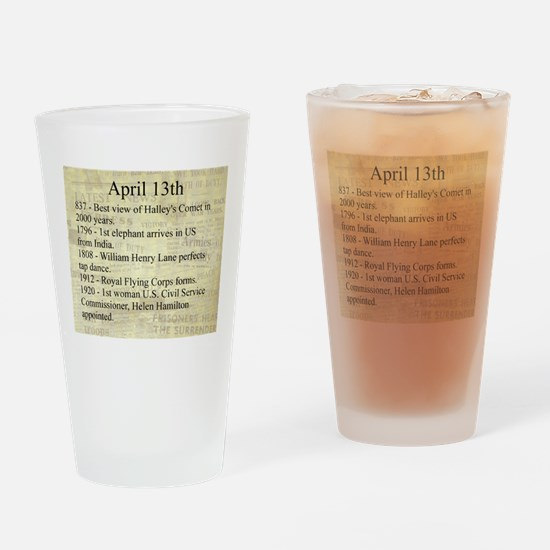 April 13th Drinking Glass
