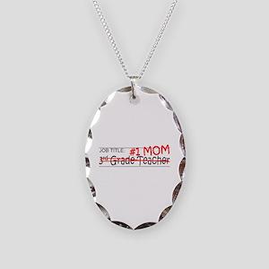Job Mom 3rd Grade Necklace Oval Charm