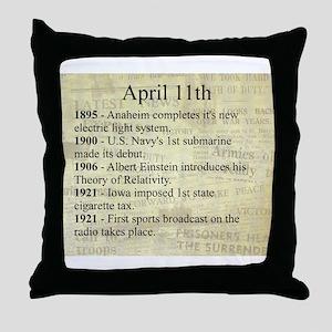 April 11th Throw Pillow