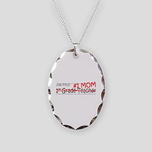 Job Mom 1st Grade Necklace Oval Charm